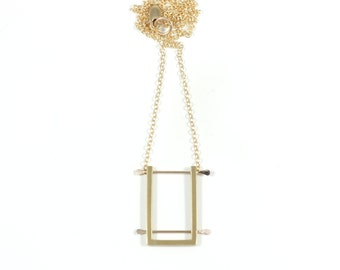 SHODO short vertical pendant in bronze