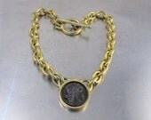 Roxanne Assoulin Coin Toggle Necklace, Roman Greek Cameo Coin Toggle Necklace, Ancient Coin Gold Statement Necklace Jewelry