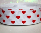 "CLEARANCE....1"" Hearts Ribbon - Red hearts ribbon - hearts - valentine - valentine's day ribbon - valentines day - heart ribbon"
