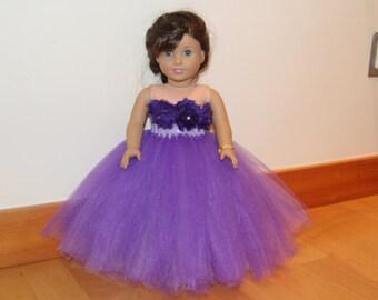 American doll tutu dress. American doll knitted dress. American girl knit dress with tutu.18 inch doll outfit. American doll purple dress
