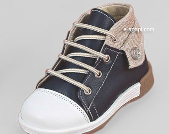 Leather baby boy first steps shoes blue grey denim sneakers baby wedding shoes baby boy baptism shoes size 4 5 6 7 8 9 US EU 173539A3037