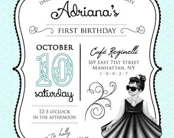 "Breakfast at Tiffanys Birthday Invitation --5""x7"" Digital Printable File, Double Sided PDF or JPG, 1st, 2nd, 3rd birthday etc."