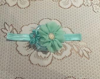 Mint Chiffon and Rose Flower Headband