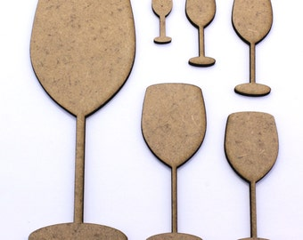 Wine Glass Craft Shapes, 2mm MDF Wooden Embellishments, Tags, Decorations (10 Pack)