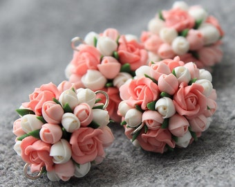 Polymer Clay Flower Bead, Polymer Clay Flower, Flower Beads, Polymer Clay Flower Jewelry, Polymer Beads, Jewelry Supplies