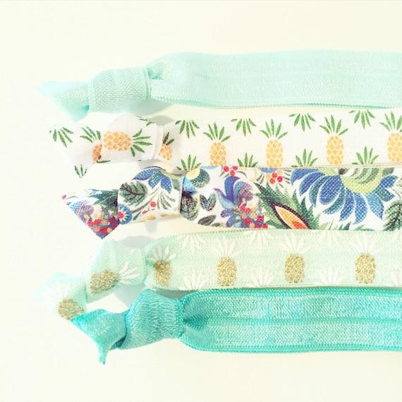 Mint Pineapple Hair Tie Set | Turquoise Pineapple Creaseless Elastic Hair Tie Set, Mint Boho Hair Ties, Summer Luau Tropical Vacation Beach