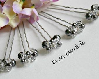 Small Hair Pins, Ivory White Swarovski Pearls Crystals, Grey Pearl Clusters, Bridal Hair Piece, Bridesmaid Gift, Wedding Hair Accessories