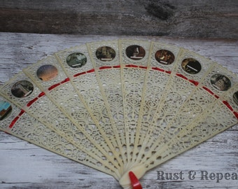 Vintage Collectible White Plastic Hand Fan - Carlsbad Caverns New Mexico Souvenir - Rust & Repeat