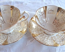 Pair of Queen Anne Bone China Wedding Anniversary Tea Cup and Saucer, Anniversary Gift