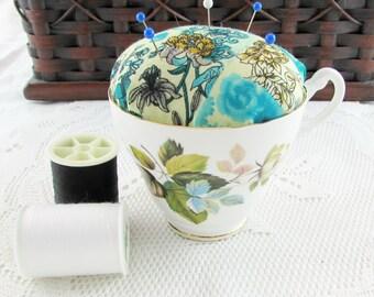 Pincushion in Vintage Tea Cup, Blue Flower, Pin Cushion