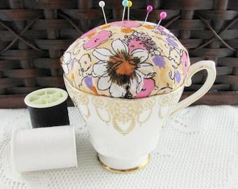 Pincushion in Vintage Tea Cup, Flower Tea Cup, Flowers, Pin Cushion