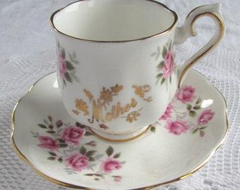 """Royal Albert """"Mother"""" Demitasse (Mini Tea Cup) with Pink Roses"""