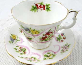 Royal Albert Canadian Emblems Tea Cup and Saucer, Vintage Bone China, Provincial Flowers, Canada