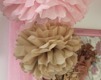 10 Large Tissue PAPER POM POMS hanging pom poms set  22 colors- wedding decorations birthday party paper