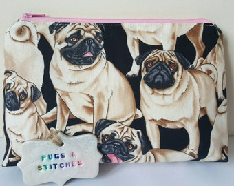NEW Pug fabric cosmetic bag or pencil case. Pink polka dot lining