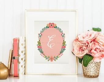 Nursery Monogram Letter E Wall ArtLetter E Art Monogram Art Floral Monogram Art Baby Shower Gift Printable Monogram Calligraphy Girls Room