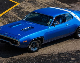 Poster of Plymouth Road Runner Left Front Blue HD Print