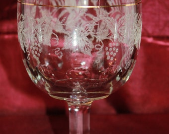 B8 Decoration 806 Clear Gold Trim Bartlett Collins Discontinued 1947 White Grape and Leaf Decal Goblet