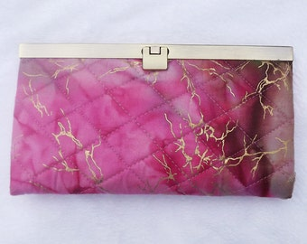Clutch/Wallet Pink and Gold Batik Fabric