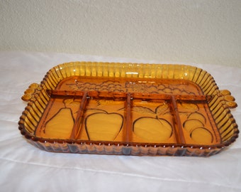 Vintage Indiana Glass Vegetable/Relish Tray Amber