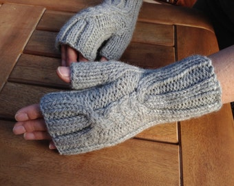 Hand knitted fingerless mittens, alpaca mix, classic mid-grey colour