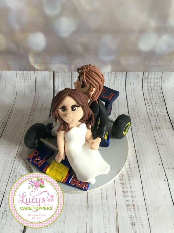 Wedding cake Topper with Racing Car - Fully Personalised a lovely keepsake