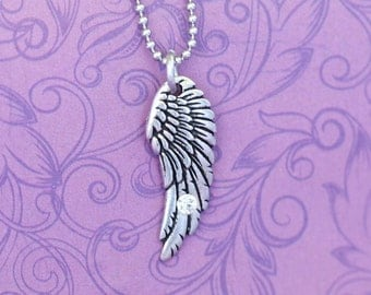 Pewter and Swarovski Angel Wing Pendant - Mommy of an Angel - Miscarriege Jewelry - Memorial Jewelry - Angel Wing - Angel Ring