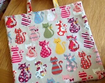 Multi Coloured Cats Cotton Bag