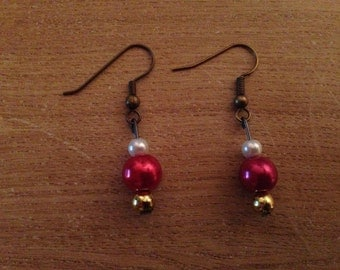 Small gold and red earrings