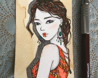 "ACEO, Original ACEO miniature, artist trading card, Pen and Ink, ""Fashion Model"", hand drawn fashion illustration, One of a Kind"