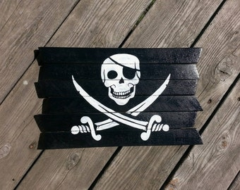 Pirate Flag painted wood sign / Jolly Roger / Pirate / Davy Jones