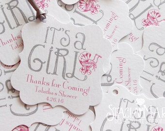 It's a Girl Baby Shower Favor Tags