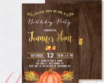 Fall birthday invitation. Rustic Birthday  Invitation, Fall Pumpkin Invitation. Fall invitation. Printable