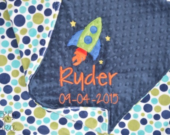 Personalized Baby Blanket, Minky Blanket, Personalized Name Blanket, Name and Rocket Ship Applique, Choose your colors, Choose your size.