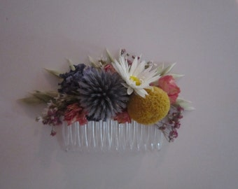 Beautiful NATURAL Bespoke THISTLE Floral Comb.  Dried Flowers, Wedding Hair Piece, Bride, Bridesmaid, Flowergirl, Flower Clips Accessory