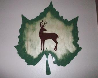 Maple leaf with rustic deer design