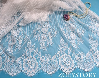 Chantilly Lace Fabric, Eyelash Lace, France Lace Fabric, Off White, Width 150cm x 3 meters/piece (LS005)