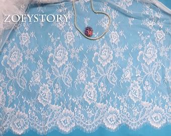 Chantilly Lace, Eyelash Lace, Frech Lace Fabric, Off White, Width 150cm x 3 meters/piece (LS006)