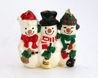 Vintage Snowman Candle,  Christmas Decorations, Holiday Snowmen