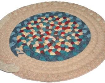 Small Vintage Braided Rug,Vintage Rug Mat