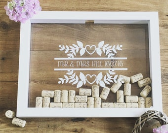 wedding dropbox guestbook wine cork holder wine cork frame alternative guestbook home decor personailed wedding gift wine cork