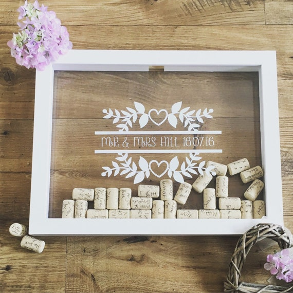 Cork Wedding Memory: Wedding Dropbox Guestbook Wine Cork Holder Wine Cork Frame