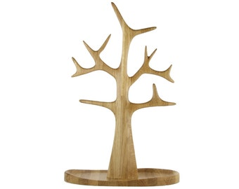 Tall Jewelry Tree and Necklace Tree organizer and display in Solid Oak Wood - Matt Lacquer Finish