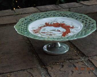 Christmas Pedestal cake plate Plate~ Winter Scene in snow
