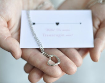 Maid of honor gift - card and Heart Necklace