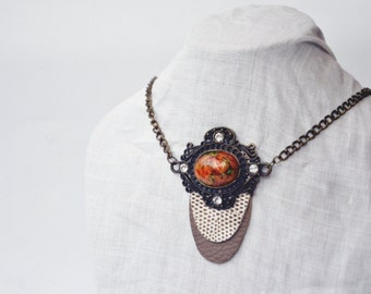 SALE - 20% Ecofriendly leather necklace die. Party Animal necklace print art deco