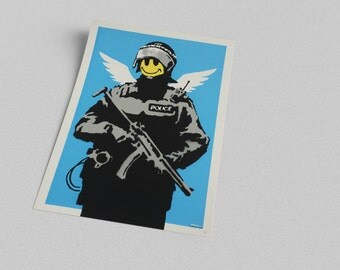 ACEO Banksy Smiling Trooper Graffiti Street Art Canvas Giclee Print
