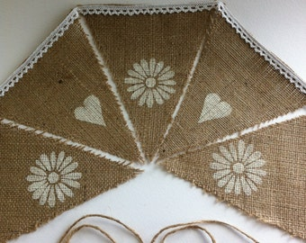 Rustic hessian hearts and daisies bunting