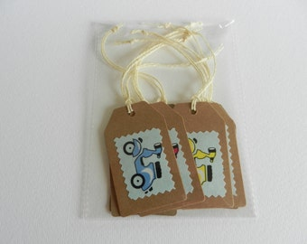 Funky moped motif gift tags - Sold as a set of 8 tags