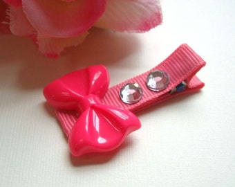 Fuchsia Pink Plastic Bow, Fully Lined Clip, Hair Clippie, Girls, Babies, Hair Clip, Rhinestone